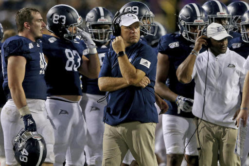 Georgia Southern head coach Chad Lunsford watches the fourth quarter tick away during an NCAA college football game against LSU in Baton Rouge, La., Saturday, Aug. 31, 2019. (AP Photo/Michael Democker)