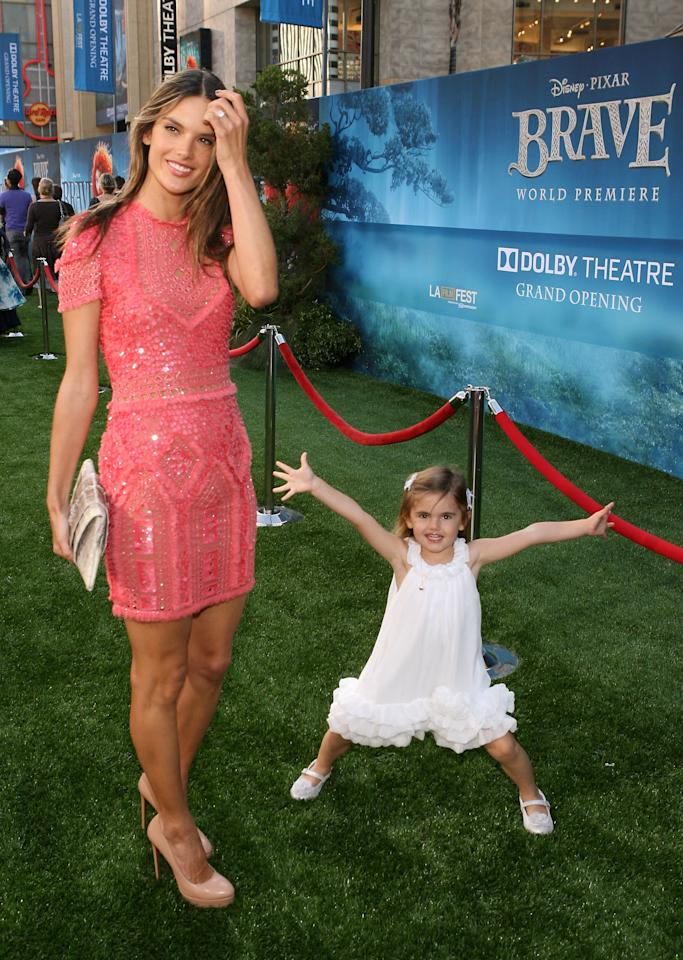 HOLLYWOOD, CA - JUNE 18: Model Alessandra Ambrosio and daughter Anja Mazur arrive at Film Independent's 2012 Los Angeles Film Festival Premiere of Disney Pixar's 'Brave' at Dolby Theatre on June 18, 2012 in Hollywood, California.  (Photo by Jesse Grant/Getty Images)