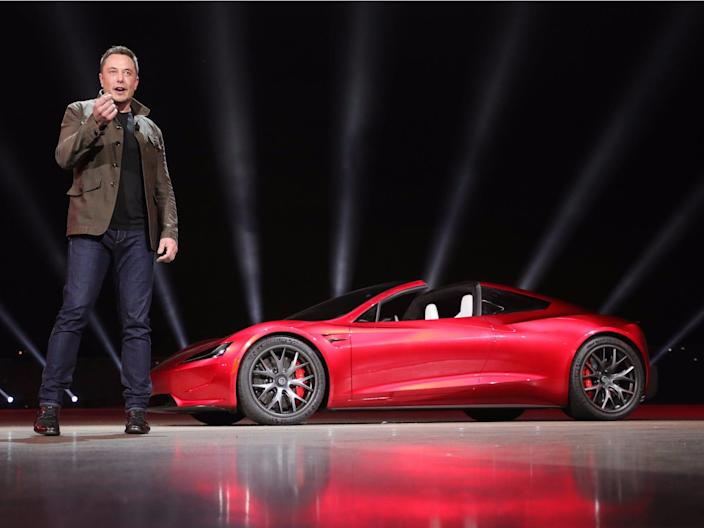 Elon Musk presents the new Tesla Roadster in 2017.