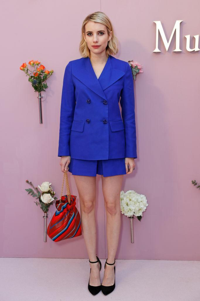 <p>Emma Roberts gave us major outfit inspo at the Mulberry SS18 show in cobalt blue co-ords. <em>[Photo: Getty]</em> </p>