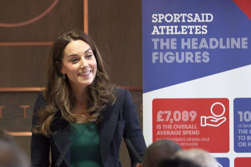 The Duchess of Cambridge during a SportsAid event at the London Stadium in Stratford, London. PA Photo. Picture date: Wednesday February 26, 2020. See PA story ROYAL Kate. Photo credit should read: Yui Mok/PA Wire