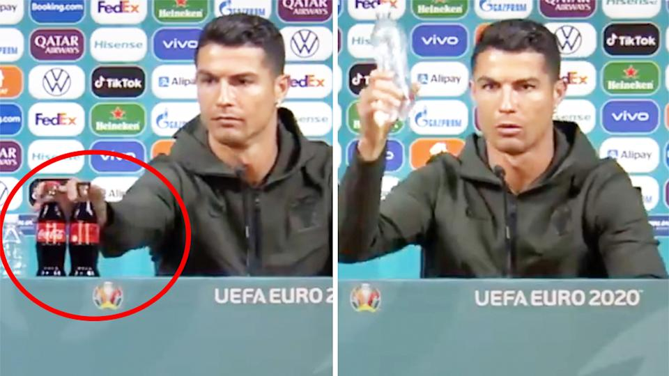 Cristiano Ronaldo (pictured left) picking up a Coca-Cola bottle and (pictured right) holding water.