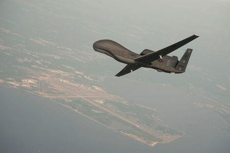 A RQ-4 Global Hawk drone over Naval Air Station Patuxent River