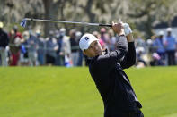 Jordan Spieth hits a shot on the first fairway during the final round of the Arnold Palmer Invitational golf tournament Sunday, March 7, 2021, in Orlando, Fla. (AP Photo/John Raoux)