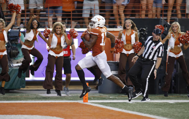 Texas Longhorns wide receiver Brennan Eagles #13 scores a touchdown against the LSU Tigers, Saturday Sept. 7, 2019 at Darrell K Royal-Texas Memorial Stadium in Austin, Tx. ( Photo by Edward A. Ornelas )