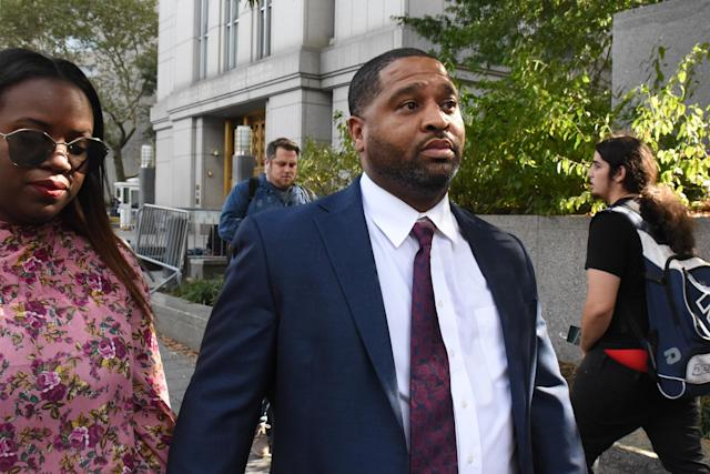 Emanuel Richardson exits the Federal Courthouse in Manhattan on Oct. 10, 2017 in New York. Richardson has agree to a plea deal in the college basketball fraud case. (Getty Images)