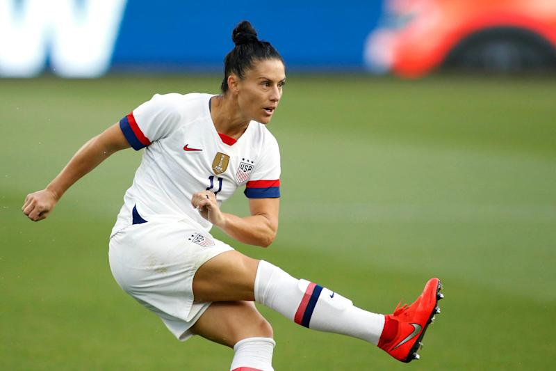 LOS ANGELES, CALIFORNIA - APRIL 07: Ali Krieger #11 of United States Women's National Team kicks the ball during a game against the Belgian Women's National Team at Banc of California Stadium on April 07, 2019 in Los Angeles, California. (Photo by Katharine Lotze/Getty Images)