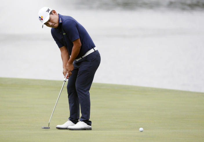Sung Kang putts on the 15th green during the second round of the AT&T Byron Nelson golf tournament in McKinney, Texas, Friday, May 14, 2021. (AP Photo/Ray Carlin)