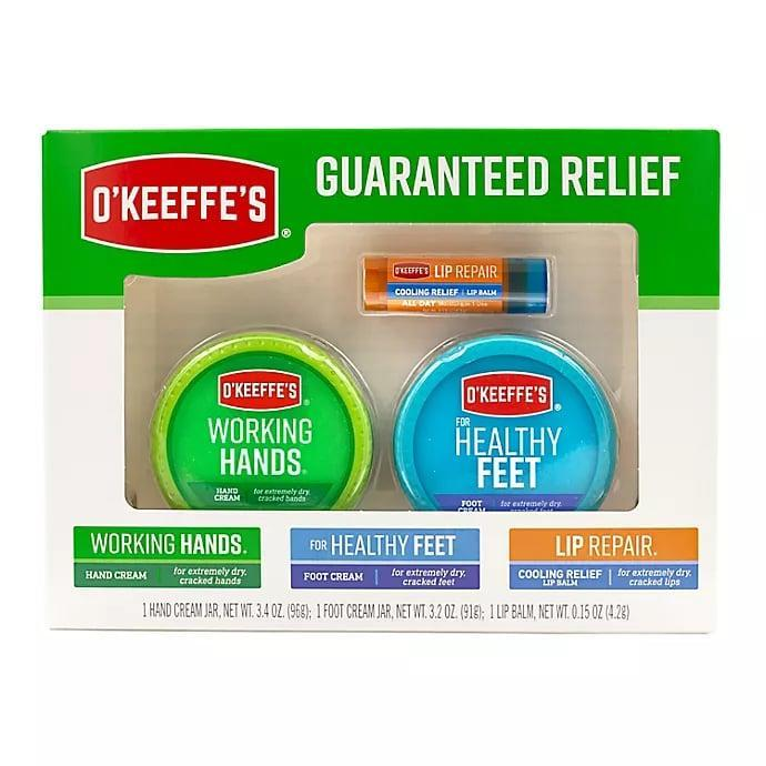 <p>If you have severly dry skin, try out this <span>O'Keeffe's 3-Piece Combo Value Pack</span> ($5, originally $10). You can moisturize and protect your hands, feet, and lips!</p>