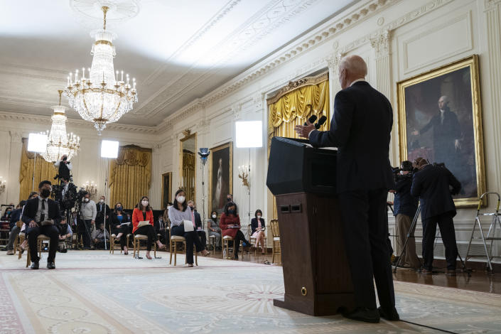 President Joe Biden speaks during a news conference in the East Room of the White House, Thursday, March 25, 2021, in Washington. (Evan Vucci)/AP