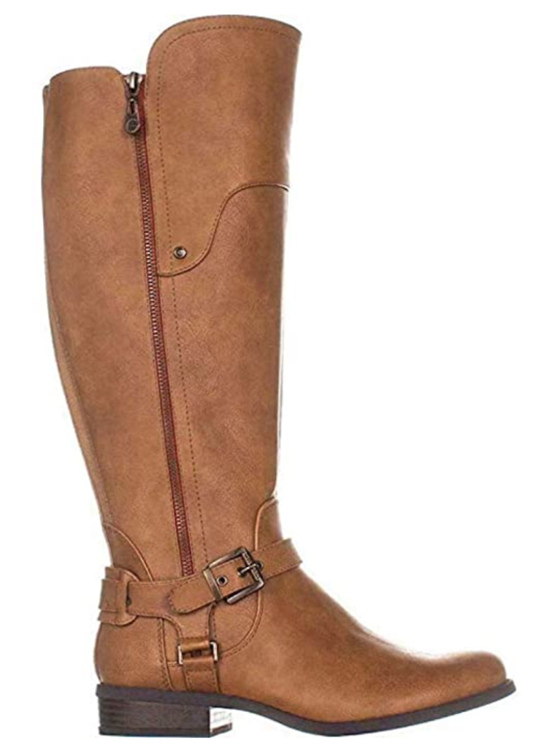 G By Guess Women's Harson Almond Toe Knee High Fashion Boots in Light Brown