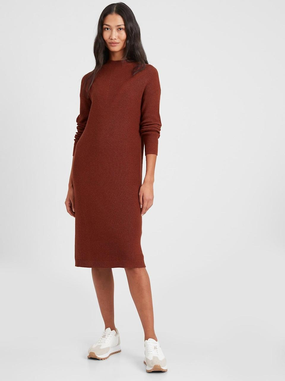 <p>On days when dressing up feels like too much work? Throw this <span>Textured Sweater Dress</span> ($70, originally $100) on.</p>