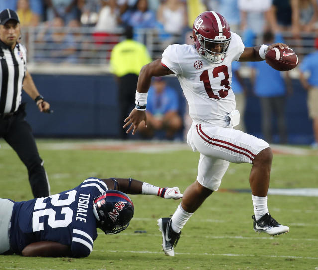 Alabama quarterback Tua Tagovailoa was good against Ole Miss. He was even better against Texas A&M on Saturday. (AP Photo/Rogelio V. Solis)