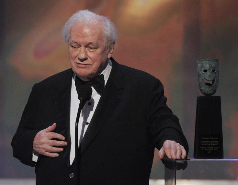 FILE - In this Sunday, Jan. 27, 2008 file photo, in Los Angeles file photo, actor Charles Durning accepts the life achievement award at the 14th Annual Screen Actors Guild Awards. Durning, the two-time Oscar nominee who was dubbed the king of the character actors for his skill in playing everything from a Nazi colonel to the pope, died Monday, Dec. 24, 2012 at his home in New York City. He was 89. (AP Photo/Mark J. Terrill)