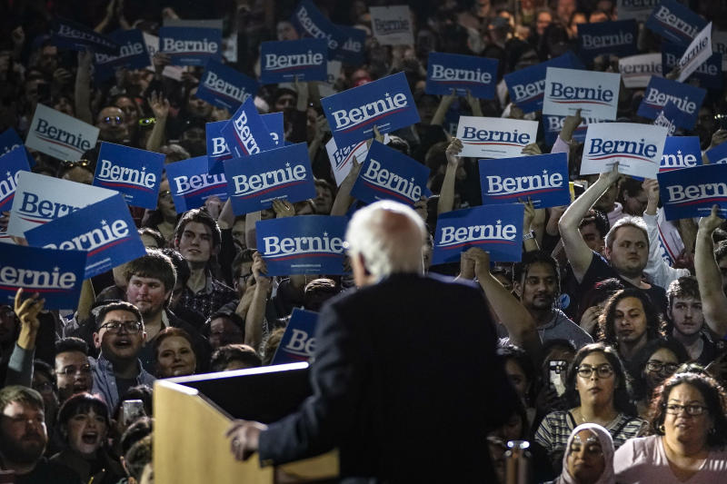 SAN ANTONIO, TX - FEBRUARY 22: Democratic presidential candidate Sen. Bernie Sanders (I-VT) speaks after winning the Nevada caucuses during a campaign rally at Cowboys Dancehall on February 22, 2020 in San Antonio, Texas. With early voting underway in Texas, Sanders is holding four rallies in the delegate-rich state this weekend before traveling on to South Carolina. Texas holds their primary on Super Tuesday March 3rd, along with over a dozen other states (Photo by Drew Angerer/Getty Images)