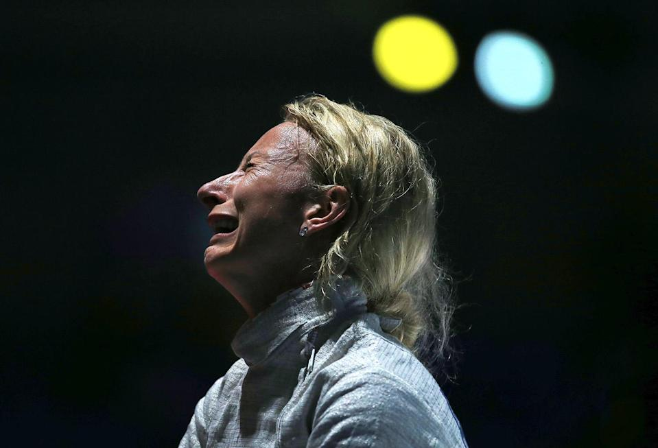 <p>Aleksandra Socha of Poland reacts after losing to the USA in the Women's Sabre Team Quarterfinals on Day 8 of the Rio 2016 Olympic Games at the Carioca Arena 3 on August 13, 2016 in Rio de Janerio, Brazil. (Photo by Vaughn Ridley/Getty Images) </p>