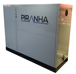Stock photo of Base Model PIRANHA. The system is heat pump that reuses thermal energy that would otherwise be lost down the drain and into the sewers.