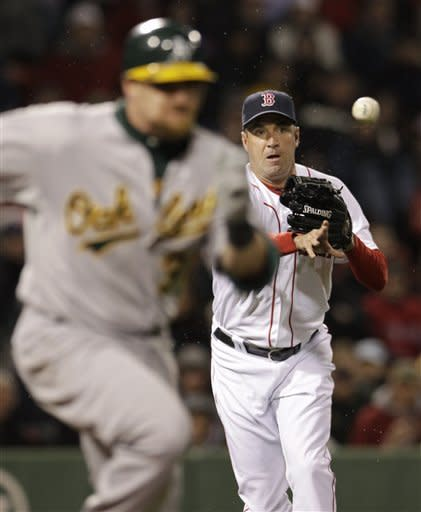 Boston Red Sox relief pitcher Scott Atchison throws to get Oakland Athletics' Jonny Gomes out at first on a ground ball during the fifth inning of a baseball game at Fenway Park in Boston, Tuesday, May 1, 2012. (AP Photo/Elise Amendola)