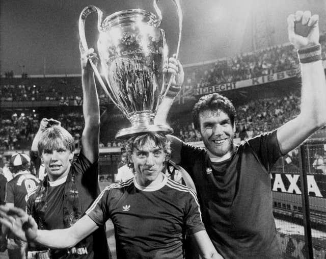 Aston Villa players celebrate after winning the 1982 European Cup