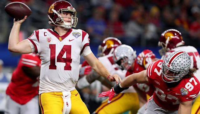 USC quarterback Sam Darnold had three costly turnovers during the Trojans' 24-7 defeat at the hands of Ohio State in the Cotton Bowl. (Getty Images)
