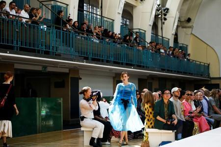 A model presents a creation during the Molly Goddard catwalk show during London Fashion Week in London