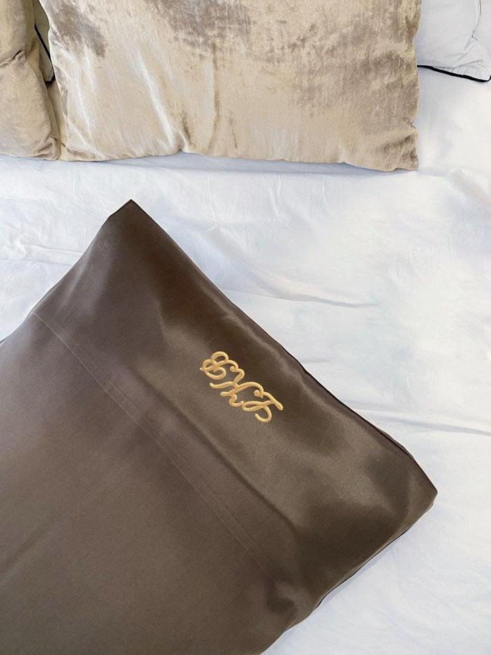 <p>If the bride loves any regal influence for the home, these <span>Silk by TBG Custom Monogrammed Silk Pillowcases</span> ($65) will come in handy.</p>