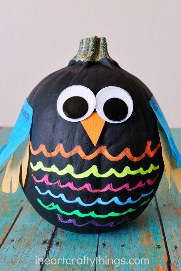 """<p>While some <a href=""""https://www.countryliving.com/diy-crafts/g279/pumpkin-carving-ideas/"""" rel=""""nofollow noopener"""" target=""""_blank"""" data-ylk=""""slk:pumpkin carving ideas"""" class=""""link rapid-noclick-resp"""">pumpkin carving ideas</a> can be a bit too tricky for little ones, this and other <a href=""""https://www.countryliving.com/diy-crafts/g1363/painted-pumpkins/"""" rel=""""nofollow noopener"""" target=""""_blank"""" data-ylk=""""slk:easy painted pumpkin DIYs"""" class=""""link rapid-noclick-resp"""">easy painted pumpkin DIYs</a> are easy enough for even the youngest crafters.</p><p><strong>Get the tutorial at <a href=""""https://iheartcraftythings.com/colorful-no-carve-owl-pumpkins.html"""" rel=""""nofollow noopener"""" target=""""_blank"""" data-ylk=""""slk:I Heart Crafty Things"""" class=""""link rapid-noclick-resp"""">I Heart Crafty Things</a>.</strong> </p>"""