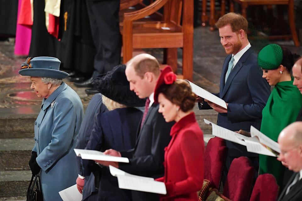 LONDON, ENGLAND - MARCH 09: Queen Elizabeth II, Prince William, Duke of Cambridge, Catherine, Duchess of Cambridge, Prince Harry, Duke of Sussex, Meghan, Duchess of Sussex, Prince Edward, Earl of Wessex and Sophie, Countess of Wessex attend the Commonwealth Day Service 2020 on March 9, 2020 in London, England. (Photo by Phil Harris - WPA Pool/Getty Images)