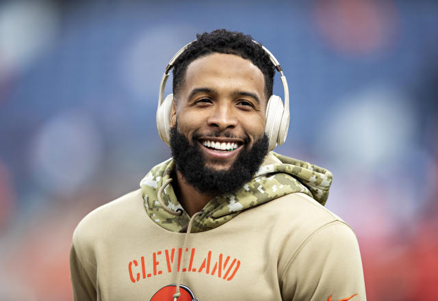 """Odell Beckham went against the NFL's uniform rules to wear """"Joker"""" inspired cleats. (Getty Images)"""