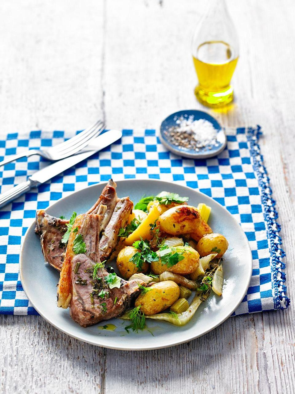 """<p>The mixture of fresh herbs adds brightness to this lamb traybake recipe, but you can replace the thyme and rosemary with their dried versions (using about 1/2tsp and 1tsp respectively).</p><p><strong>Recipe: <a href=""""https://www.goodhousekeeping.com/uk/food/recipes/a29103084/lamb-traybake/"""" rel=""""nofollow noopener"""" target=""""_blank"""" data-ylk=""""slk:Herby Fennel and Lamb Traybake"""" class=""""link rapid-noclick-resp"""">Herby Fennel and Lamb Traybake</a></strong></p>"""