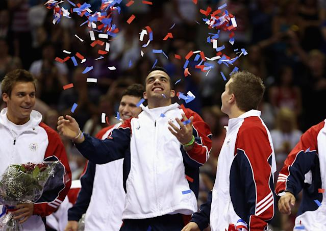 SAN JOSE, CA - JULY 01: Danell Leyva celebrates with the confetti after being named to the US Gymnastic team going to the 2012 London Olympics at HP Pavilion on July 1, 2012 in San Jose, California. (Photo by Ezra Shaw/Getty Images)