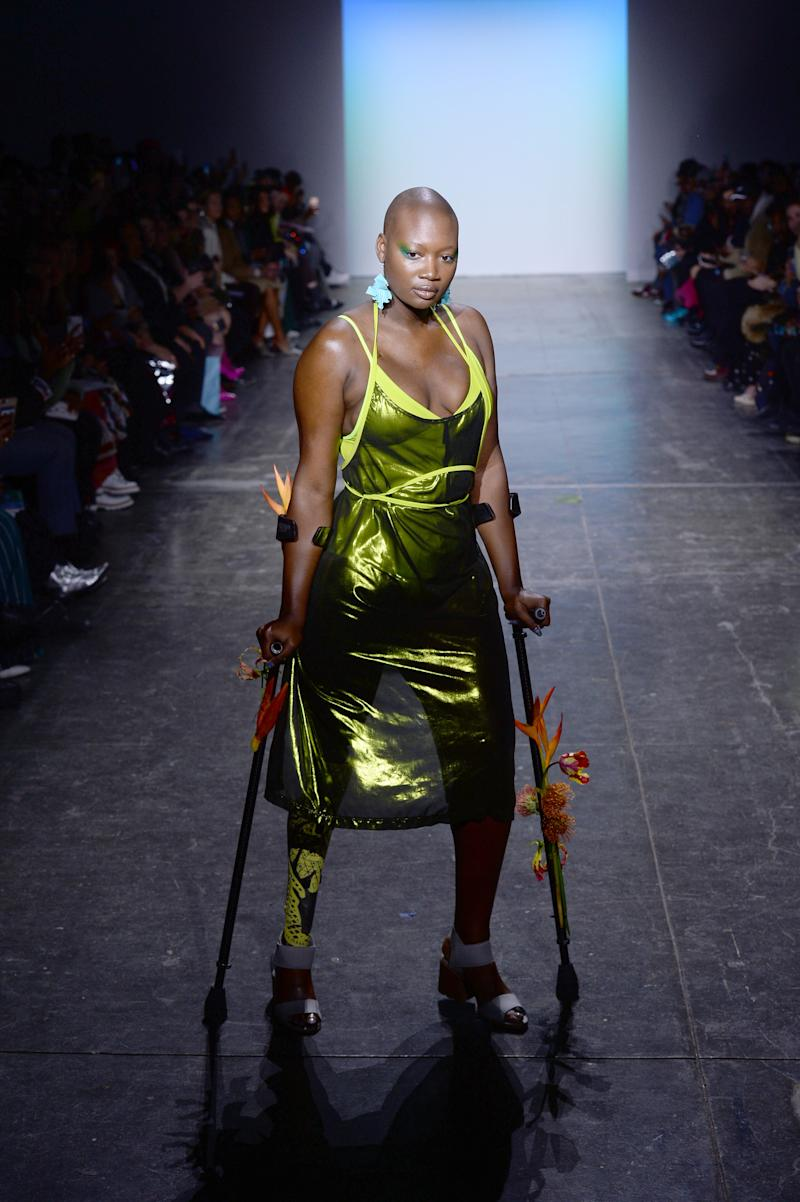 Mama Cax walks the runway for the Chromat fashion show during New York Fashion Week: The Shows at Industria Studios on February 8, 2019 in New York City.