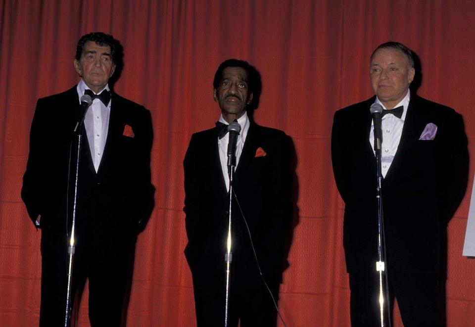 <p>Frank, Sammy, and Dean holding a press conference in Beverly Hills, California in January 1987.</p>
