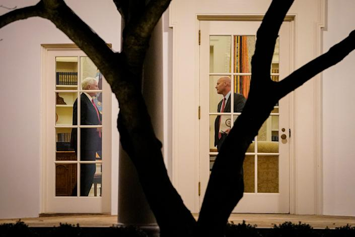 Vice President Mike Pence meets with his chief of staff, Marc Short, at the White House on Jan. 4, 2020.