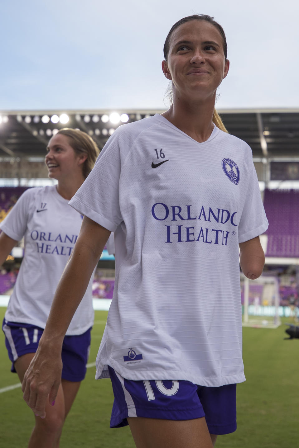 ORLANDO, FL - JULY 20: Orlando Pride defender Carson Pickett (16) before the soccer match between Sky Blue FC and the Orlando Pride on July 20, 2019, at Exploria Stadium in Orlando FL. (Photo by Joe Petro/Icon Sportswire via Getty Images)