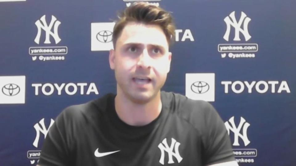 Joey Gallo first Yankees Zoom call