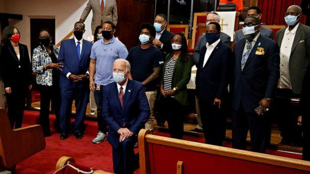 PHOTO:Democratic presidential candidate and former Vice President Joe Biden poses for a picture with Pastor of the Bethel AME Church, Rev. Dr. Silvester S. Beaman and attendees during a visit to the Bethel AME Church in Wilmington, Delaware, June 1, 2020. (Jim Bourg/Reuters)