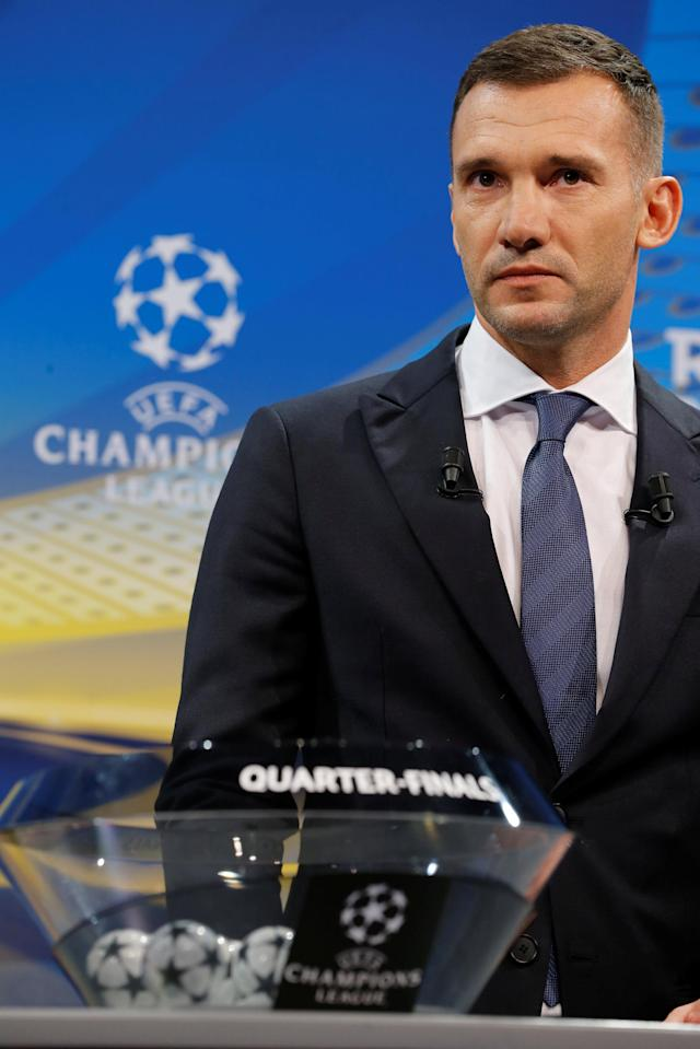 Soccer Football - Champions League Quarter-Final Draw - Nyon, Switzerland - March 16, 2018 Andriy Shevchenko during the draw REUTERS/Pierre Albouy