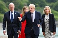 The Bidens and Johnsons were all smiles as they posed for media in Carbis Bay, Cornwall