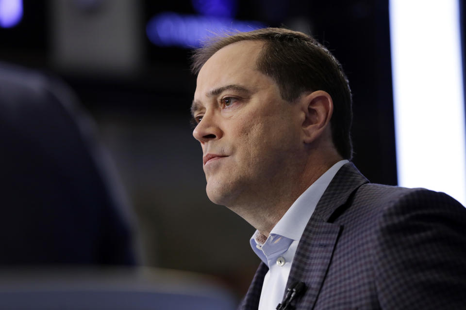FILE- In this Nov. 17, 2017, file photo, Cisco CEO Chuck Robbins is interviewed on the floor of the New York Stock Exchange. Cisco Systems Inc. reports earnings Wednesday, May 16, 2018. (AP Photo/Richard Drew, File)