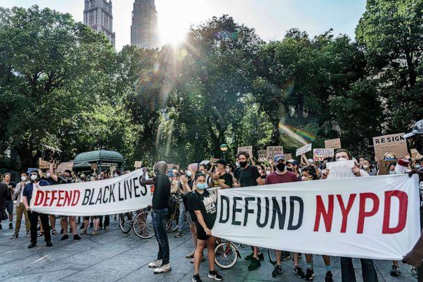 PHOTO: People demonstrate in New York City, June 24, 2020, requesting the City Council defund the police or reduce the police budget by one billion dollars, in the wake of the death of George Floyd and protests over racial inequality. (Mark Peterson/Redux)