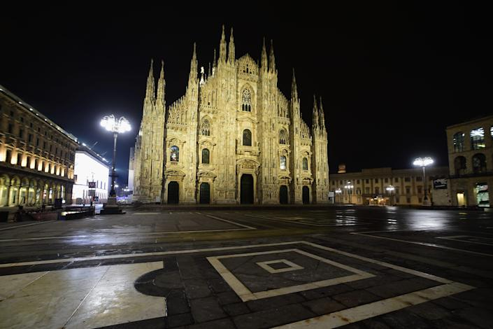 A view of Piazza Duomo on December 31, 2020 in Milan, Italy.