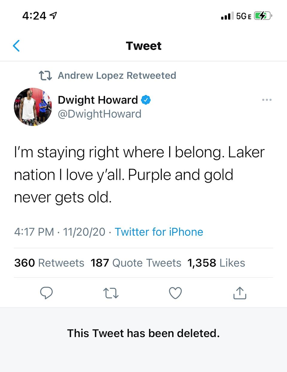 Dwight Howard's tweet from Friday evening announcing his return to the Los Angeles Lakers.