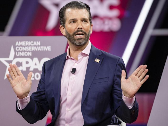 Donald Trump Jr, son of president Donald Trump, speaks on stage during the Conservative Political Action Conference 2020 (CPAC) hosted by the American Conservative Union on 28 February 2020