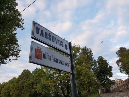 A Warsaw street signs in Lithuanian and Polish languages are pictured in Vilnius, Lithuania, September 20, 2016. Picture taken September 20, 2016. REUTERS/Andrius Sytas