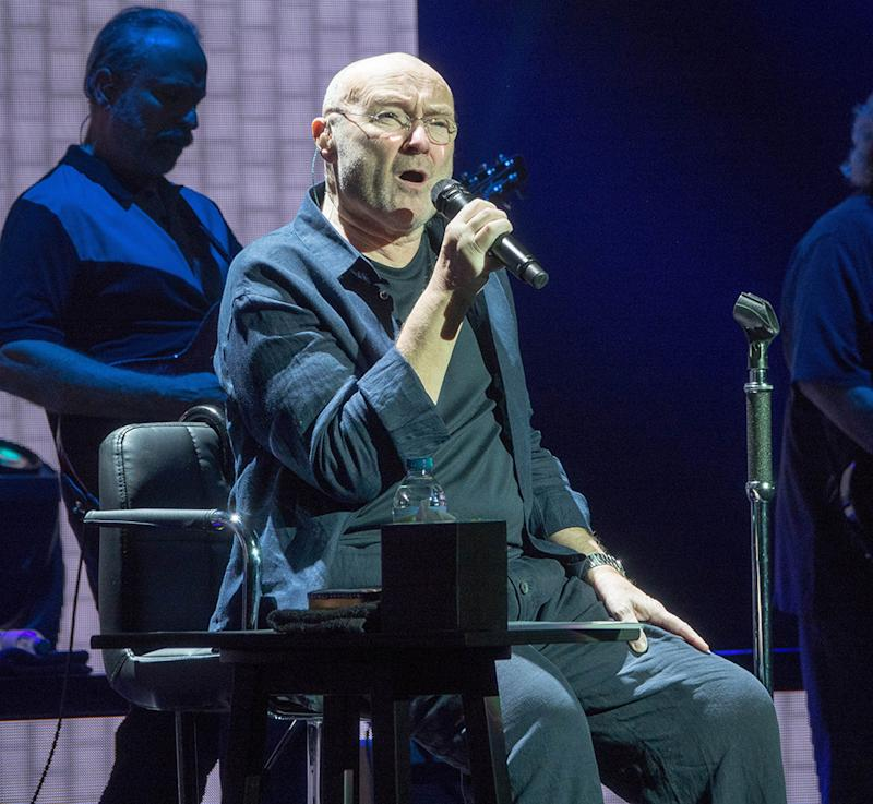 Phil Collins, performing at the Royal Albert Hall in London on June 4, has canceled tour dates after sustaining an injury that landed him in the hospital. (Photo: Splash News)