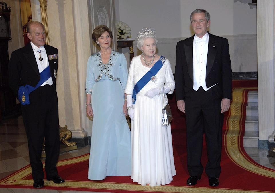 Britain's Queen Elizabeth II and the Duke of Edinburgh with the President of the USA, George Bush and wife Barbara at the White House, Washington DC, on the sixth day of her state visit to the US.