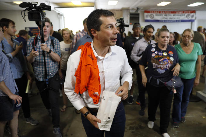 Democratic presidential candidate Pete Buttigieg greets local residents during the Hawkeye Area Labor Council Labor Day Picnic, Monday, Sept. 2, 2019, in Cedar Rapids, Iowa. (AP Photo/Charlie Neibergall)