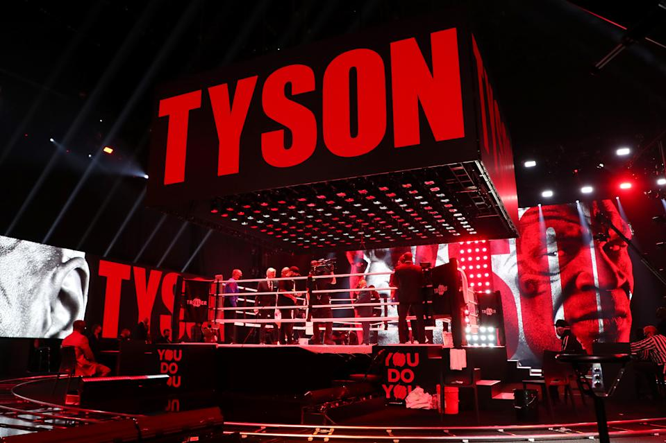 LOS ANGELES, CALIFORNIA - NOVEMBER 28: Mike Tyson enters the ring during Mike Tyson vs Roy Jones Jr. presented by Triller at Staples Center on November 28, 2020 in Los Angeles, California. (Photo by Joe Scarnici/Getty Images for Triller)