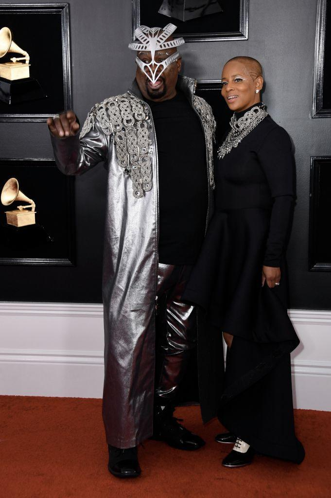 <p>George Clinton and Stephanie Lynn Clinton attend the 61st annual Grammy Awards at Staples Center on Feb. 10, 2019, in Los Angeles. </p>